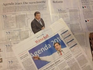 Saksan lehdissä on laajasti summattu yhteen Gerhard Schröderin kymmenen vuotta sitten tekemää Agenda 2010 –reformia, jolla uudistettiin radikaalisti Saksan työttömyys- ja sosiaaliturvaa sekä verotusta.