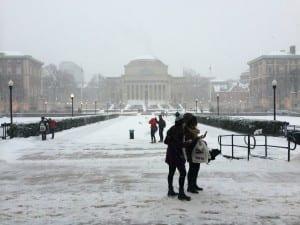 Columbian yliopisto peittyy valkoiseen vaippaan 26.1.