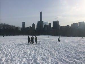 Keskuspuistoissa tehdään kilpaa lumiukkoja päivä harmittomaksi jääneen lumimyrskyn jälkeen.