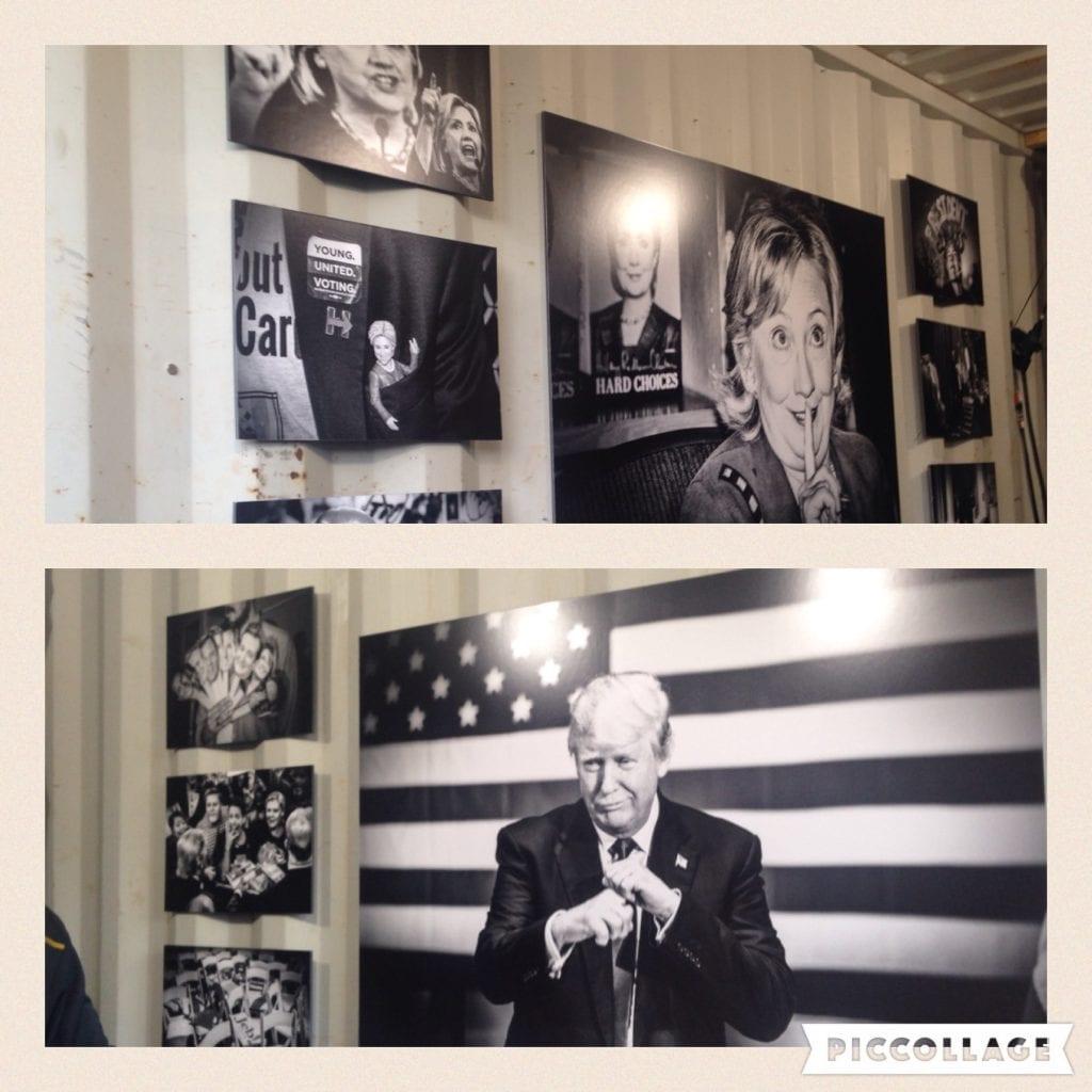 """Valokuvaaja Mark Petersonin kuvasarja """"Political Teather"""" nähtiin Photoville-valokuvanäyttelyssä New Yorkissa syyskuussa. Työt olivat esillä rahtialusten konteissa."""
